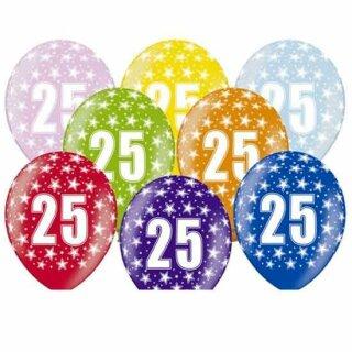 5 Farbige Ballons 25. Geburtstag Silber mit Zahlen