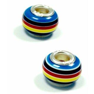 Perlen Anhänger Blau-Rot-Gelb gestreift