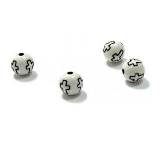 100 Kreuz-Perle 10mm Weiß +schwarzes Kreuz für Ketten