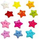 Stern- Knöpfe 12mm bunte Farben 2-Loch einzeln