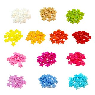 20 Stern- Knöpfe 12mm bunte Farben 2-Loch Set