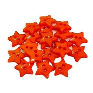 20 Stern- Knöpfe 12mm Orange 2-Loch Set