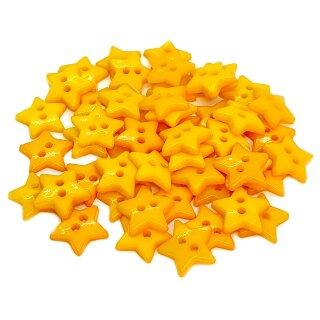 50 Stern- Knöpfe 12mm Dotter-Gelb 2-Loch Set
