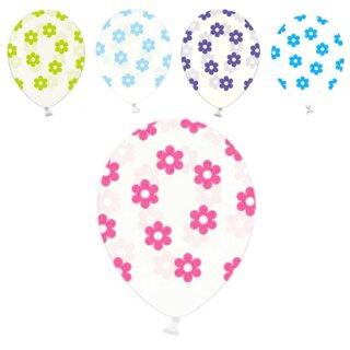 Transparente Ballons mit bunten Blüten Einzeln