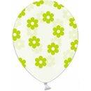 Transparente Ballons mit Blüten in Grün Einzeln