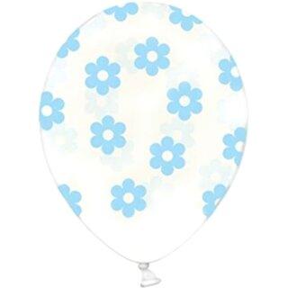 Transparente Ballons mit Blüten in Hellblau Einzeln