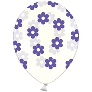 Transparente Ballons mit Blüten in Lila / Violett Einzeln