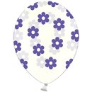 Transparente Ballons mit Blüten in Lila / Violett...