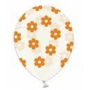 Transparente Ballons mit Blüten in Orange Einzeln