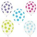 5 Transparente Ballons mit bunten Blüten