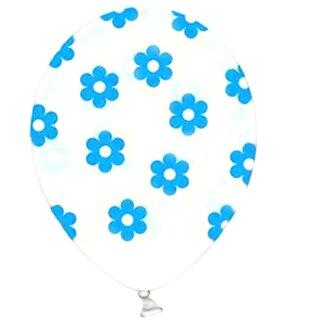 5 Transparente Ballons mit Blüten in Blau