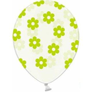 5 Transparente Ballons mit Blüten in Grün