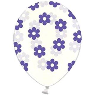5 Transparente Ballons mit Blüten in Lila