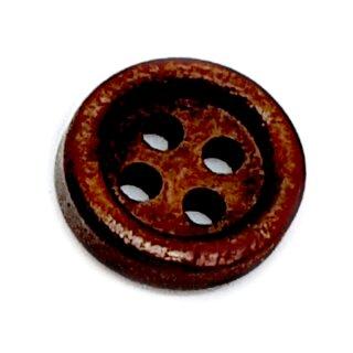 Holz-Knöpfe Dunkelbraun 11mm mit Rand 4-Loch