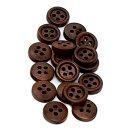 50 Holz-Knöpfe Dunkelbraun 11mm mit Rand 4-Loch