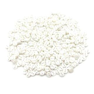 50 Mini-Knöpfe 4mm in Weiß 2-Loch Kunststoff
