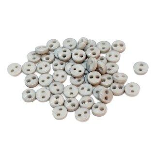 50 Mini-Knöpfe 4mm in Grau 2-Loch Kunststoff