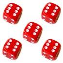 5er Würfel-Set W6-Würfel bunte Farben weiße Punkte 16mm