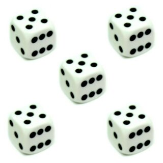 5er Würfel-Set W6-Würfel Weiß schwarz Punkte 16mm