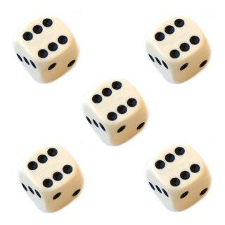 5er Würfel-Set W6-Würfel Elfenbein schwarze Punkte 16mm