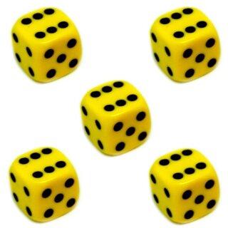 5er Würfel-Set W6-Würfel Gelb schwarze Punkte 16mm