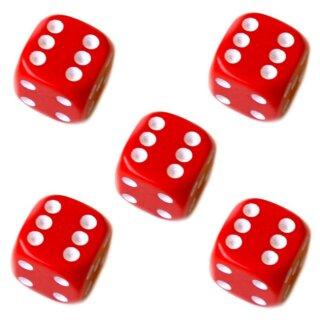 5er Würfel-Set W6-Würfel Rot weiße Punkte 16mm