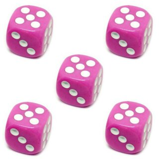 5er Würfel-Set W6-Würfel Rosa weiße Punkte 16mm