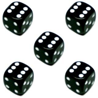 5er Würfel-Set W6-Würfel Schwarz weiße Punkte 16mm