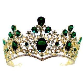Grün-Goldene Strass-Kristall-Krone 8cm hoch