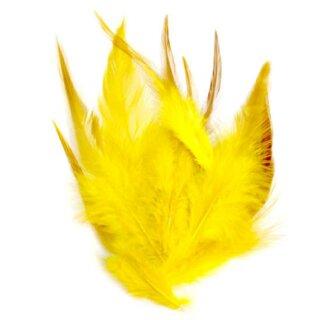Gelb gefärbte Federn im Pack zu 50 Stück 10-15cm