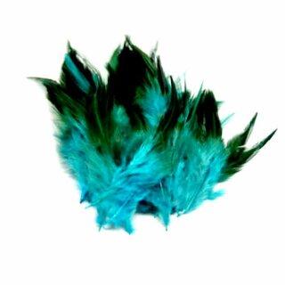 Türkis gefärbte Federn im Pack zu 50 Stück 10-15cm