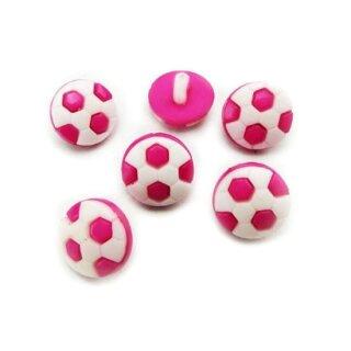 10 Fußball-Knöpfe im Set in Weiß-Pink 13mm