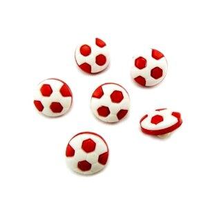 10 Fußball-Knöpfe im Set in Weiß-Rot 13mm