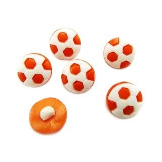 10 Fußball-Knöpfe im Set in Weiß-Orange 13mm