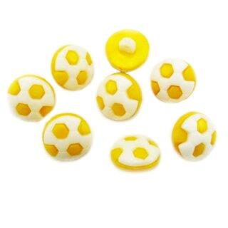 10 Fußball-Knöpfe im Set in Weiß-Dotter-Gelb 13mm