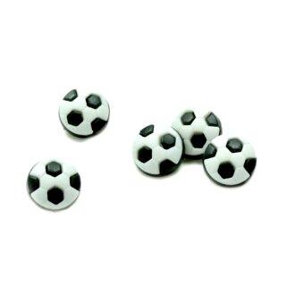 10 Fußball-Knöpfe im Set in Weiß-Schwarz 13mm