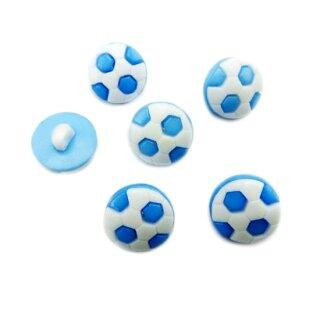 10 Fußball-Knöpfe im Set in Weiß-Hellblau 13mm