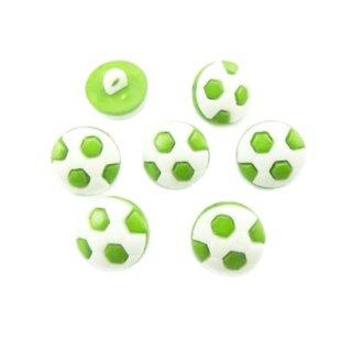 10 Fußball-Knöpfe im Set in Weiß-Hell-Grün 13mm