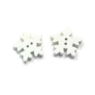 20 Schneeflocken Knöpfe Weiß aus Holz 18mm