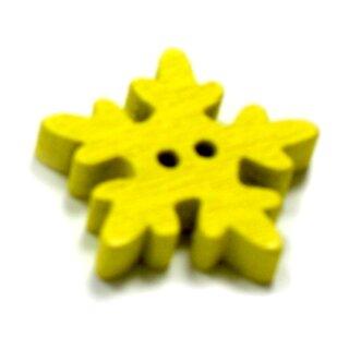 20 Schneeflocken Knöpfe Gelb aus Holz 18mm