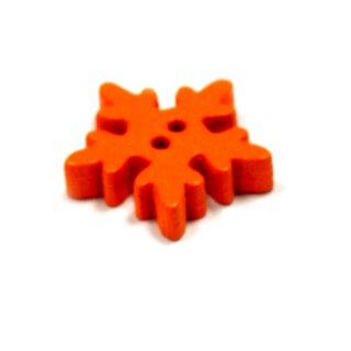 20 Schneeflocken Knöpfe Orange aus Holz 18mm