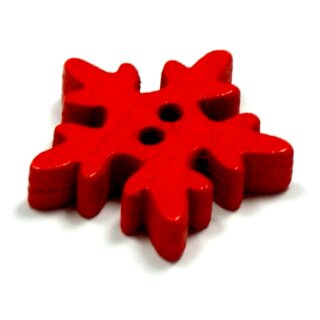 20 Schneeflocken Knöpfe Rot aus Holz 18mm