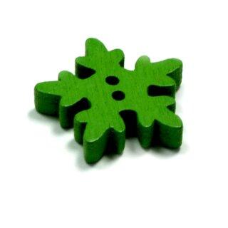 20 Schneeflocken Knöpfe Grün aus Holz 18mm
