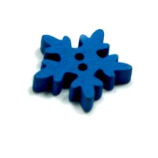 20 Schneeflocken Knöpfe Blau aus Holz 18mm