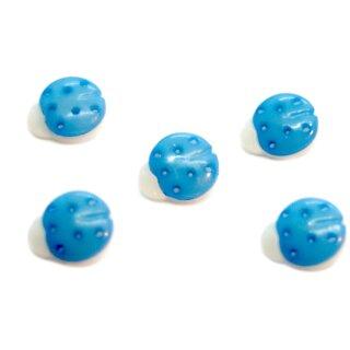 10 Marienkäfer-Knöpfe in Weiß-Hellblau 15mm