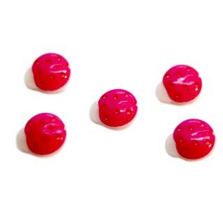 10 Marienkäfer-Knöpfe in Weiß-Pink 15mm
