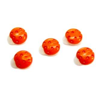 10 Marienkäfer-Knöpfe in Weiß-Orange 15mm