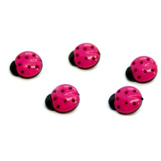 10 Marienkäfer-Knöpfe in Schwarz-Pink 15mm