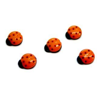 10 Marienkäfer-Knöpfe in Schwarz-Orange 15mm