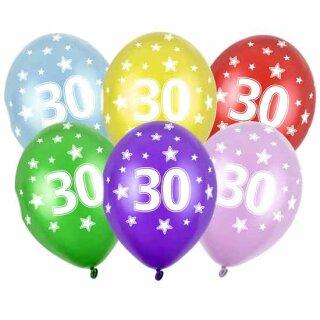 Ballons 30. Geburtstag in Rot mit Zahlen Einzeln